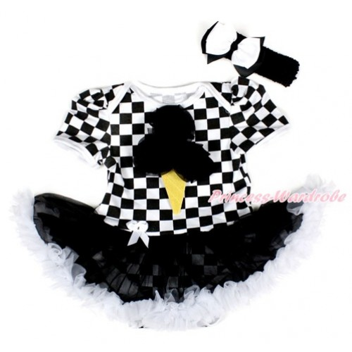 Black White Checked Baby Bodysuit Jumpsuit Black White Pettiskirt With Black Rosettes Ice Cream Print With Black Headband White Black Ribbon Bow JS2573