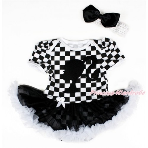 Black White Checked Baby Bodysuit Jumpsuit Black White Pettiskirt With Barbie Princess Print With White Headband Black Silk Bow JS2579