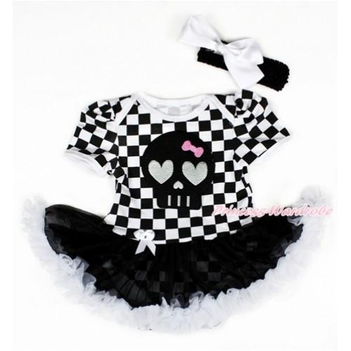 Black White Checked Baby Bodysuit Jumpsuit Black White Pettiskirt With Black Skeleton Print With Black Headband White Silk Bow JS2581