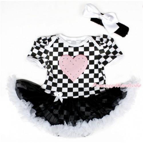 Black White Checked Baby Bodysuit Jumpsuit Black White Pettiskirt With Light Pink Heart Print With Black Headband White Silk Bow JS2585