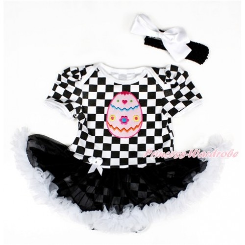 Black White Checked Baby Bodysuit Jumpsuit Black White Pettiskirt With Easter Egg Print With Black Headband White Silk Bow JS2587
