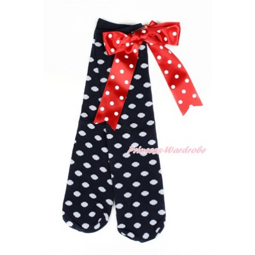 Black White Polka Dots Cotton Stocking Sock with Minnie Dots Big Bow SK93