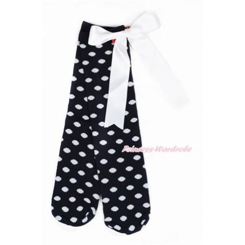 Black White Polka Dots Cotton Stocking Sock with White Big Bow SK94