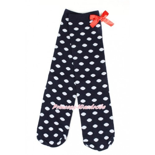 Black White Polka Dots Cotton Stocking Sock with Red Bow SK95