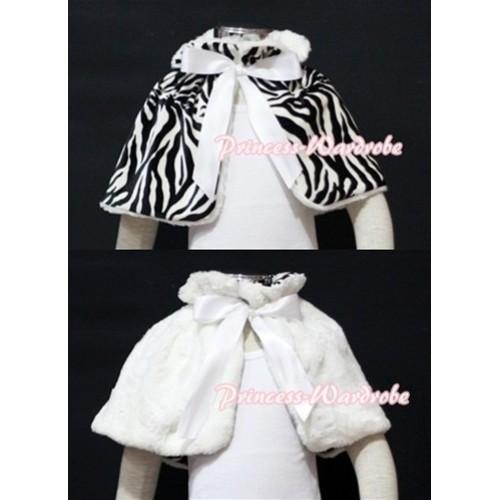 Black White Zebra Reversible Shawl Coat with White Ribbon SH04