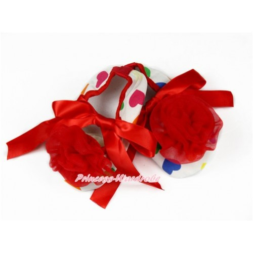 Baby Rainbow Heart Red Ribbon Crib Shoes with Red Rosettes S614