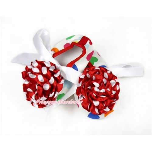 Baby Rainbow Heart White Ribbon Crib Shoes with Minnie Dots Rosettes S617
