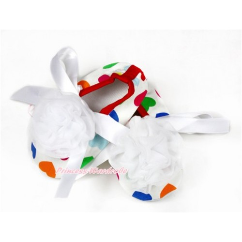 Baby Rainbow Heart White Ribbon Crib Shoes with White Rosettes S618