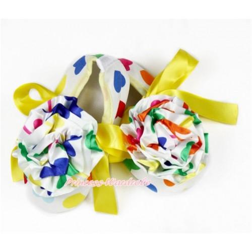 Baby Rainbow Heart Yellow Ribbon Crib Shoes with Rainbow Heart Rosettes S621