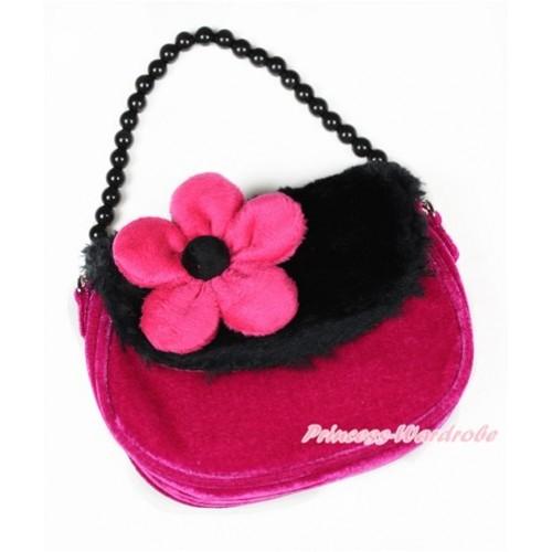 Black Hot Pink Soft Fur Little Cute Handbag Petti Bag Purse CB140