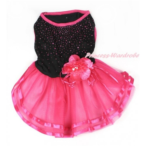 Black Sparkle Crystal Glitter Sleeveless Hot Pink Flower Gauze Skirt Pet Dress DC050