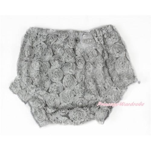 Grey Romantic Rose Panties Bloomers BR49