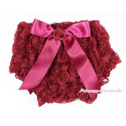 Raspberry Wine Red Romantic Rose Panties Bloomers With Raspberry Wine Red Bow BR48