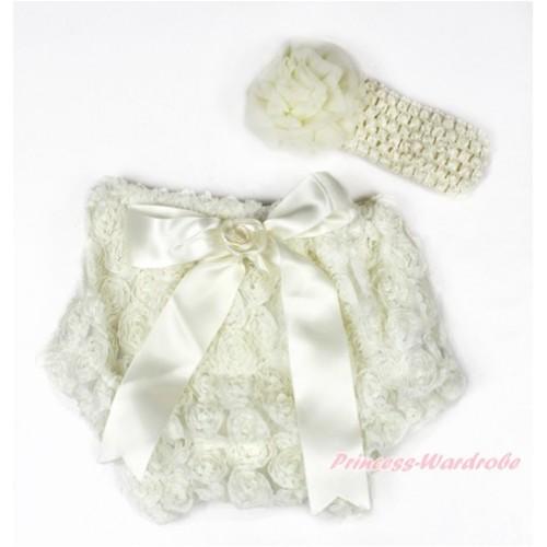 Cream White Romantic Rose Panties Bloomers With Cream White Bow & Cream White Headband Cream White Rosettes BA03