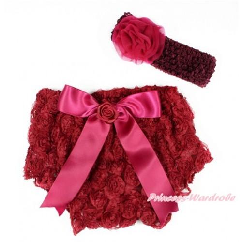 Raspberry Wine Red Romantic Rose Panties Bloomers With Raspberry Wine Red Bow & Raspberry Wine Red Headband Raspberry Wine Red Rosettes BA04