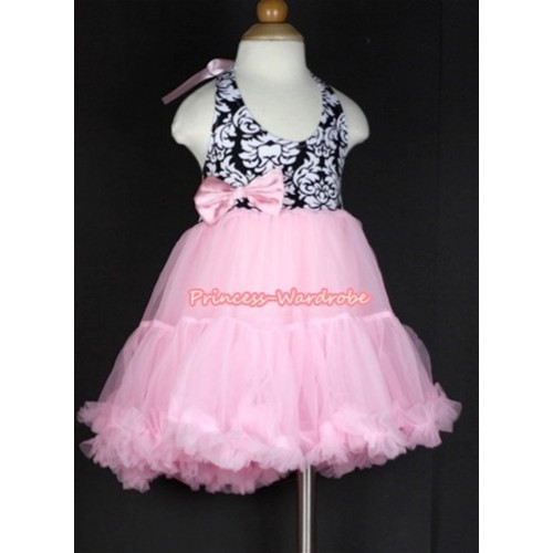 Light Pink Damask with ONE-PIECE Petti Dress with Light Pink Satin Bow LP13