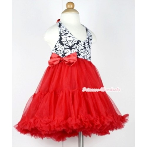 Red Damask with ONE-PIECE Petti Dress with Red Satin Bow LP15