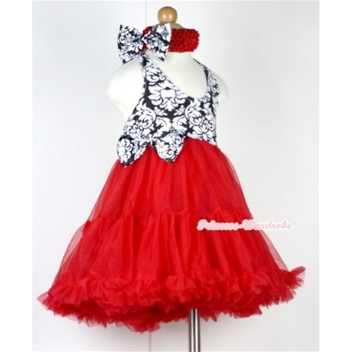 Red Damask with ONE-PIECE Petti Dress with Damask Satin Bow with Red Headband Damask Satin Bow LP18