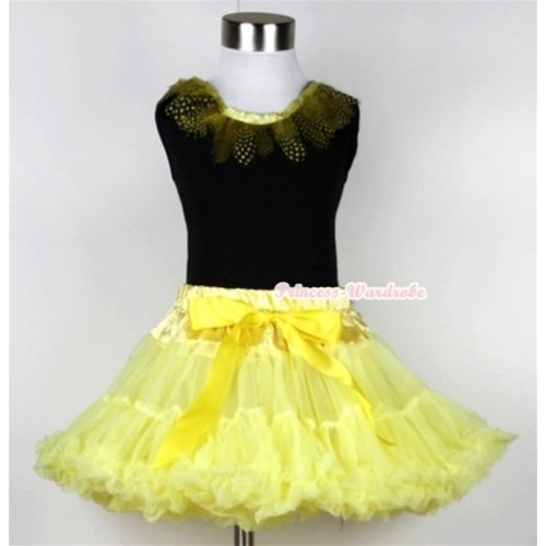 Black Tank Top with Yellow Feather Lacing With Yellow Pettiskirt MW100