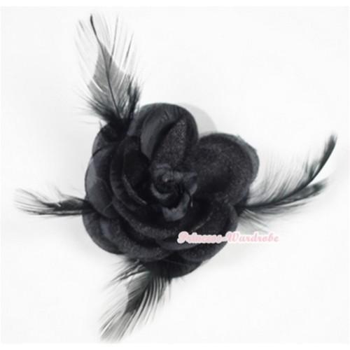 Black Rosettes Feather Hair Clip H523