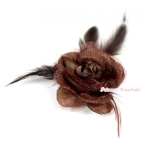 Brown Rosettes Feather Hair Clip H527