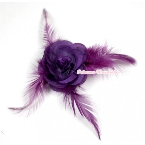 Dark Purple Rosettes Feather Hair Clip H528