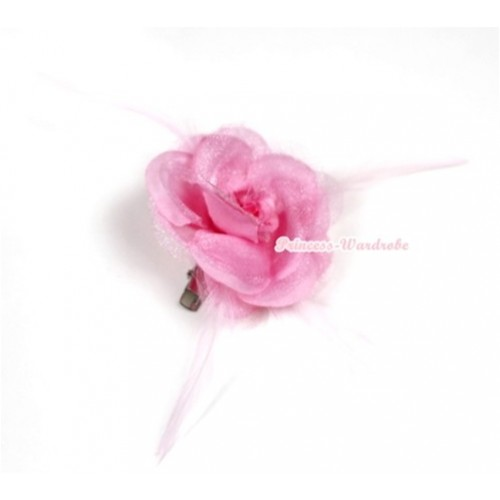 Light Pink Rosettes Feather Hair Clip H529