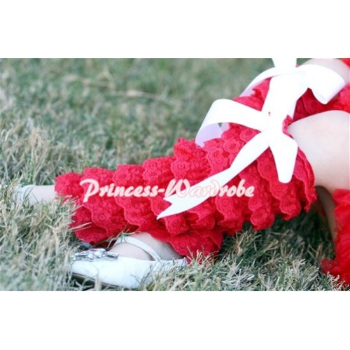 Baby Red Lace Leg Warmers Leggings with White Ribbon LG65