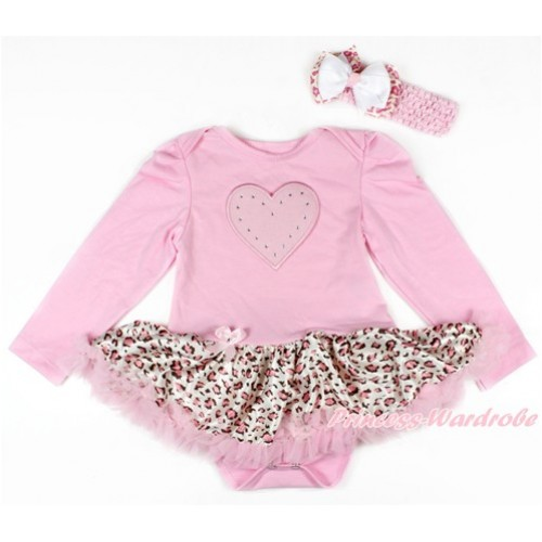 Light Pink Long Sleeve Baby Bodysuit Jumpsuit Light Pink Leopard Pettiskirt With Light Pink Heart Print & Light Pink Headband White Light Pink Leopard Ribbon Bow JS2688