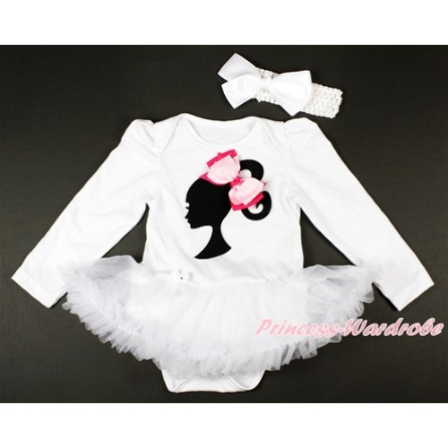 White Long Sleeve Baby Bodysuit Jumpsuit White Pettiskirt With Barbie Princess Print & Light Hot Pink Ribbon Bow & White Headband White Silk Bow JS2740