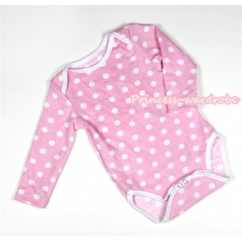 Light Pink White Polka Dots Baby Long Sleeve Jumpsuit LH207
