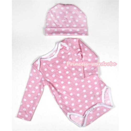 Light Pink White Polka Dots Long Sleeve Baby Jumpsuit with Cap Set LH271