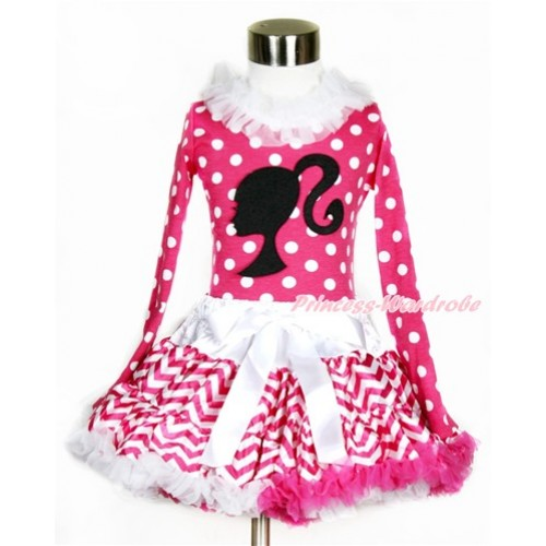 Hot Pink White Dots Long Sleeves Top with White Lacing with Barbie Princess Print With Hot Pink White Wave Pettiskirt MW419
