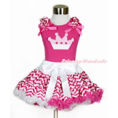 Hot Pink Tank Top with Hot Pink White Wave Ruffles & Hot Pink White Dots Bow with Crown Print  & Hot Pink White Wave Pettiskirt MH145