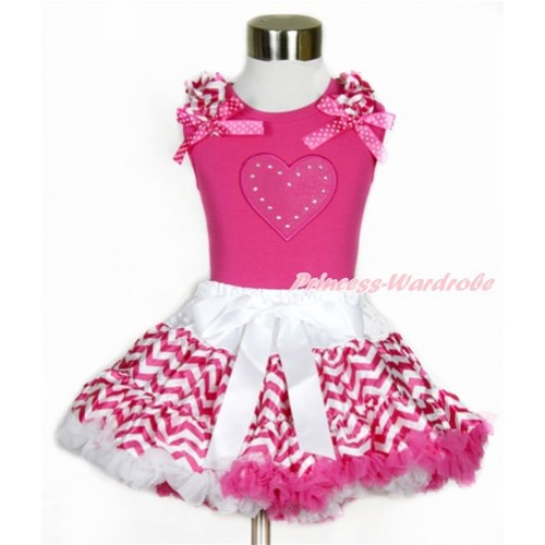 Hot Pink Tank Top with Hot Pink White Wave Ruffles & Hot Pink White Dots Bow with Hot Pink Heart Print  & Hot Pink White Wave Pettiskirt MH146