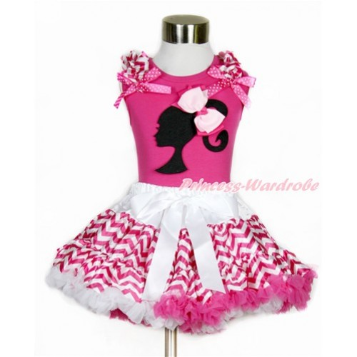 Hot Pink Tank Top with Hot Pink White Wave Ruffles & Hot Pink White Dots Bow with  Barbie Princess Print & Light Hot Pink Ribbon Bow & Hot Pink White Wave Pettiskirt MH148