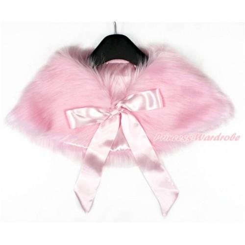 Light Pink Ribbon with Light Pink Soft Fur Stole Shawl Shrug Wrap Cape Wedding Flower Girl Shawl Coat SH41