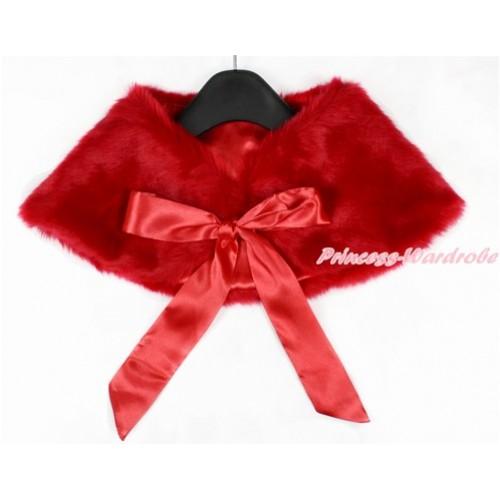 Red Ribbon with Red Soft Fur Stole Shawl Shrug Wrap Cape Wedding Flower Girl Shawl Coat SH42
