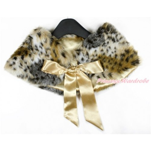 Goldenrod Ribbon with Leopard Soft Fur Stole Shawl Shrug Wrap Cape Wedding Flower Girl Shawl Coat SH44