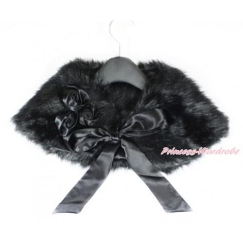 Black Rosettes & Black Ribbon with Black Soft Fur Stole Shawl Shrug Wrap Cape Wedding Flower Girl Shawl Coat SH45