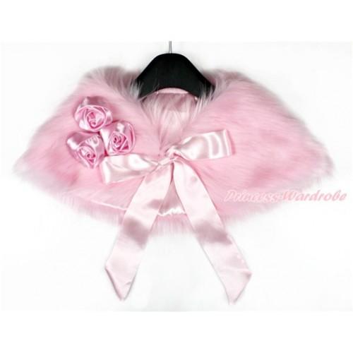 Light Pink Rosettes & Light Pink Ribbon with Light Pink Soft Fur Stole Shawl Shrug Wrap Cape Wedding Flower Girl Shawl Coat SH46