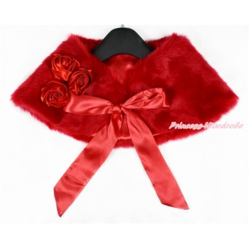 Red Rosettes & Red Ribbon with Red Soft Fur Stole Shawl Shrug Wrap Cape Wedding Flower Girl Shawl Coat SH47
