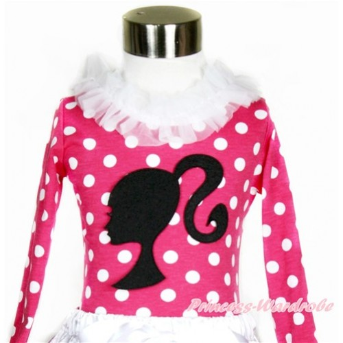 Hot Pink White Dots Long Sleeves Top with White Lacing With Barbie Princess Print T545