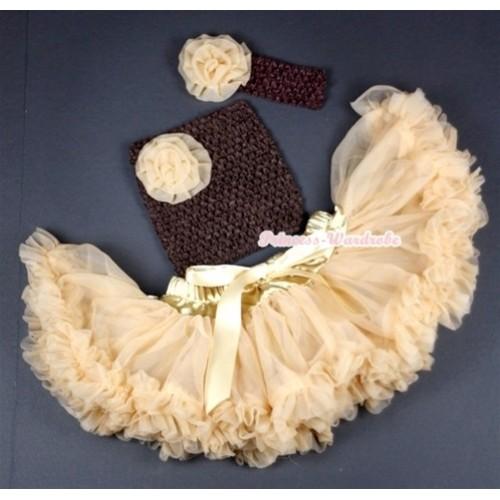 Goldenrod Baby Pettiskirt,Goldenrod Rose and Brown Crochet Tube Top,Brown Headband Goldenrod Rose 3PC Set CT497