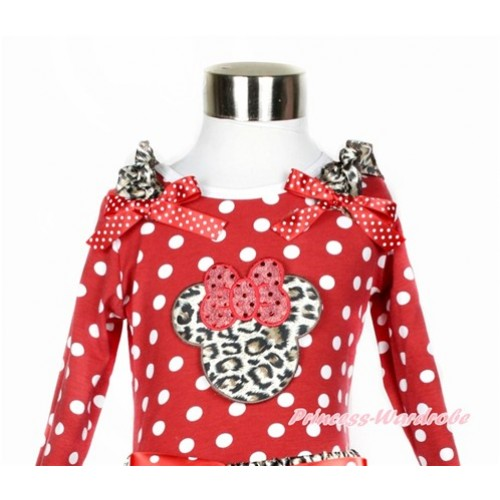 Minnie Dots Long Sleeves Top With Leopard Ruffles & Minnie Dots Bow with Leopard Minnie Print TO309