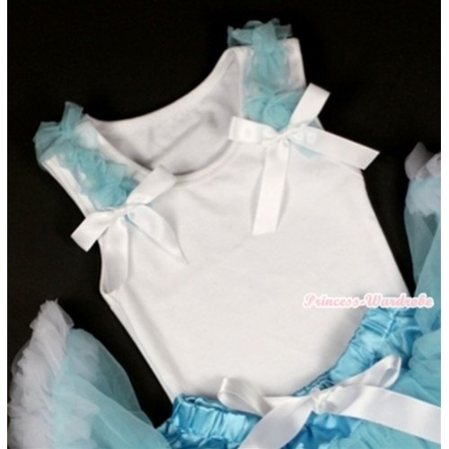 White Tank Top with Light Blue Ruffles and White Bow T474