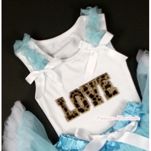 Leopard Love Print White Tank Top with Light Blue Ruffles& White Bows TB219