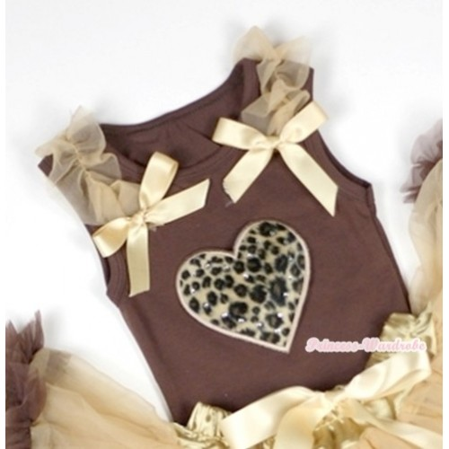 Leopard Heart Print Brown Tank Top with Goldenrod Ruffles &Goldenrod Bows TM213