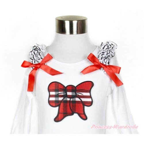 White Long Sleeves Top with Zebra Ruffles & Red Bow & Red Black Checked Butterfly Print TW407