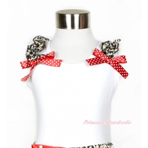 White Tank Top with Leopard Ruffles and Minnie Dots Bow TB553